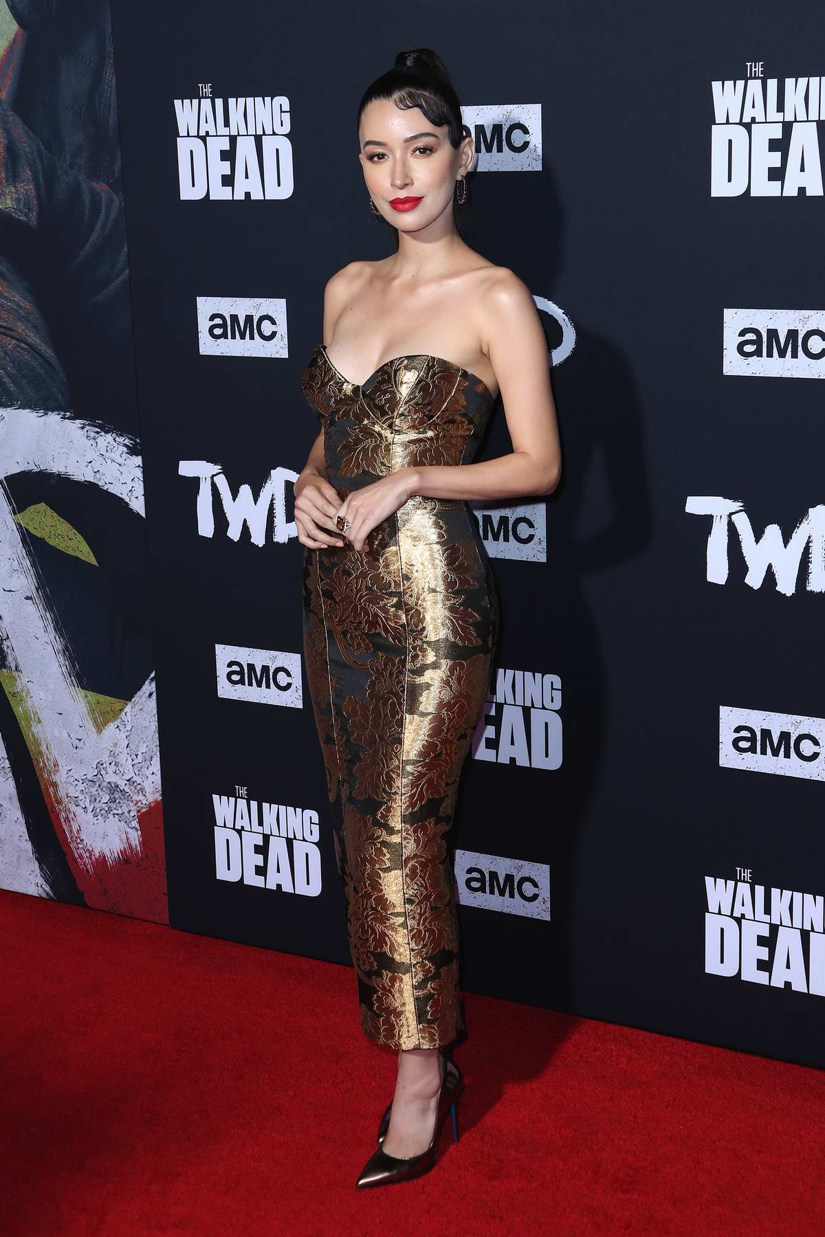 Christian Serratos attends 'The Walking Dead' Season 10 Premiere at Chinese 6 Theater in Hollywood, California