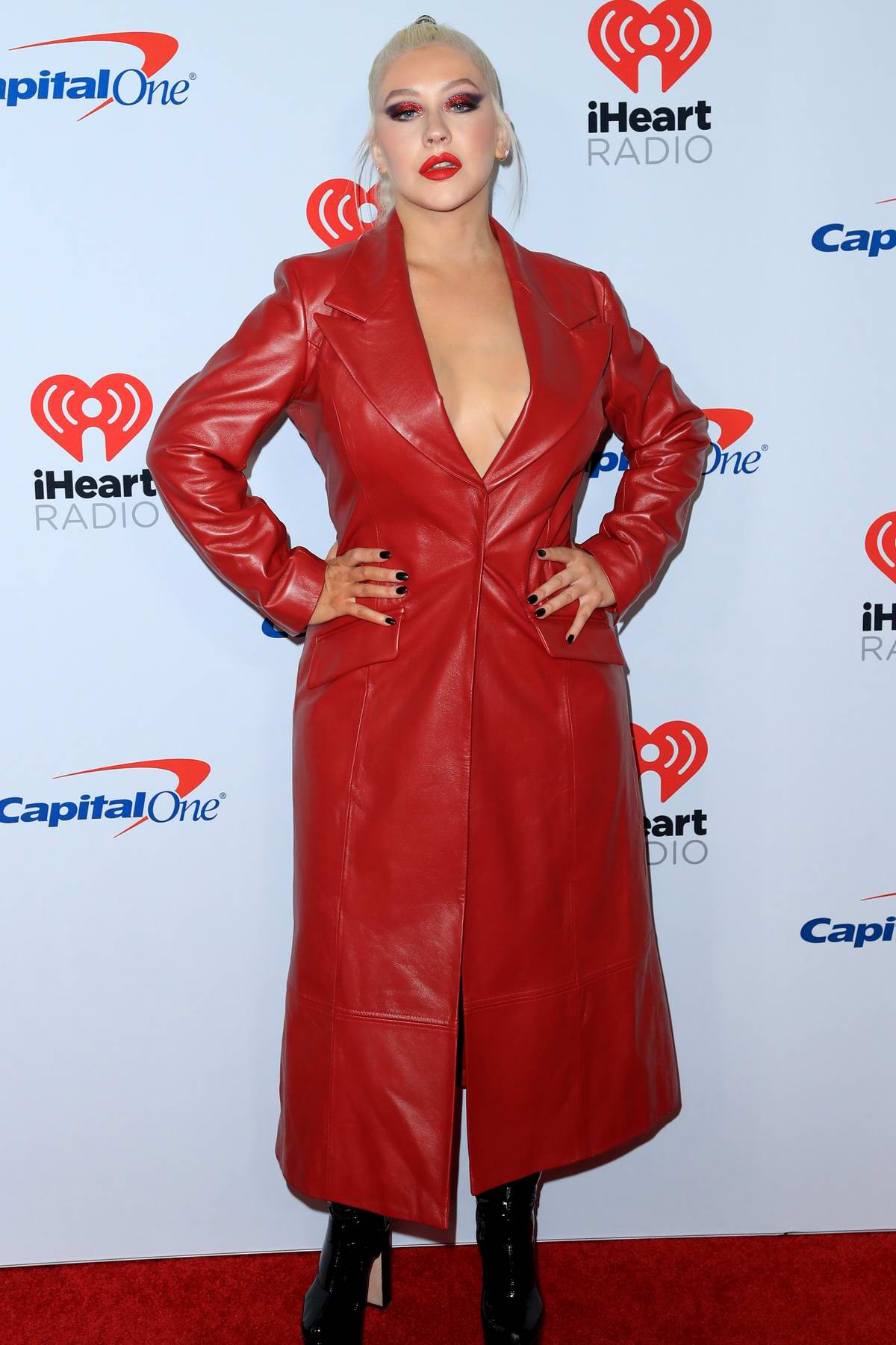 Christina Aguilera attends the 2019 iHeartradio Music Festival at T-Mobile Arena in Las Vegas, Nevada
