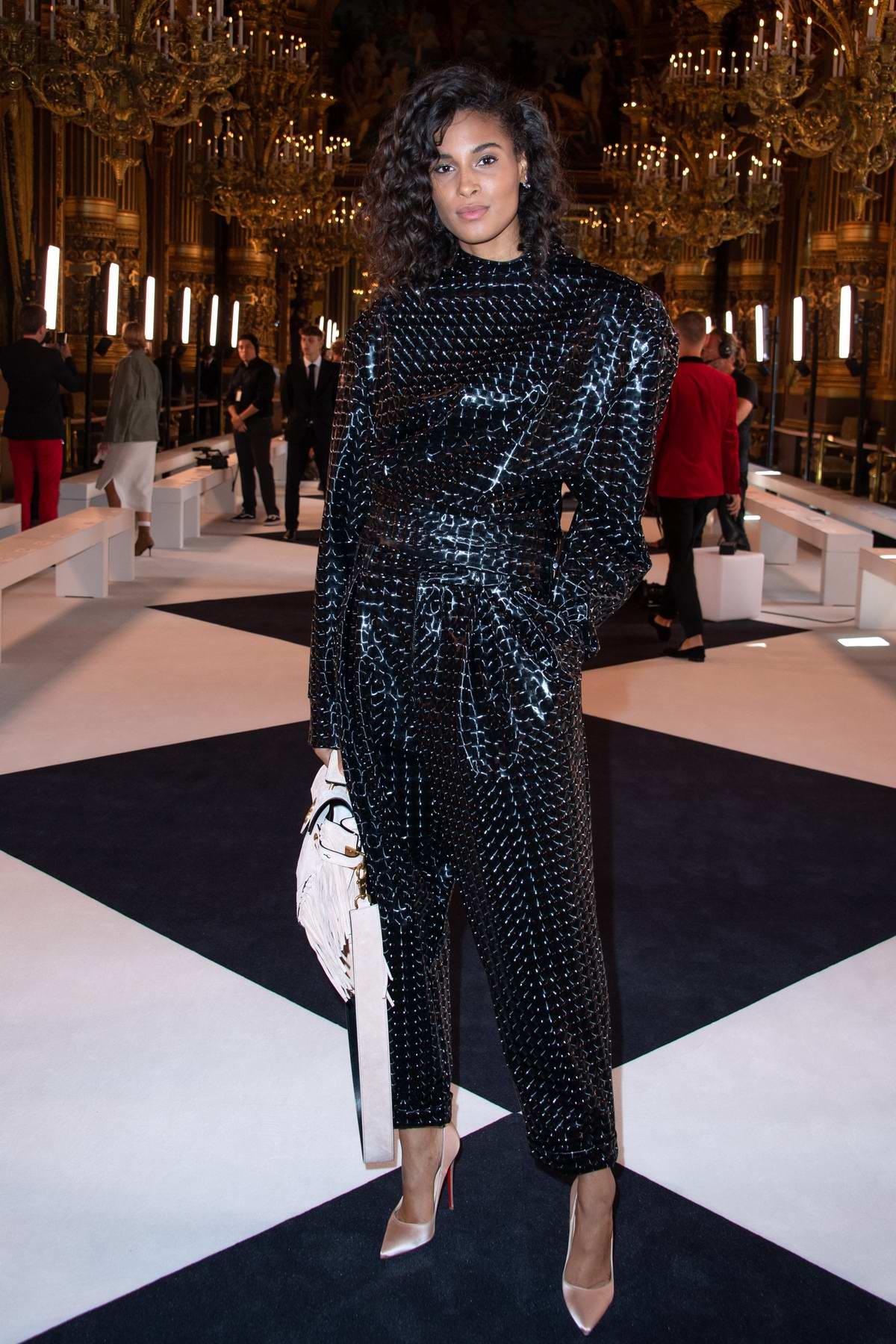 Cindy Bruna attends the Balmain Womenswear Spring/Summer 2020 during Paris Fashion Week in Paris, France