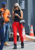 Devon Windsor dons a stylish red and black ensemble as she steps out in New York City
