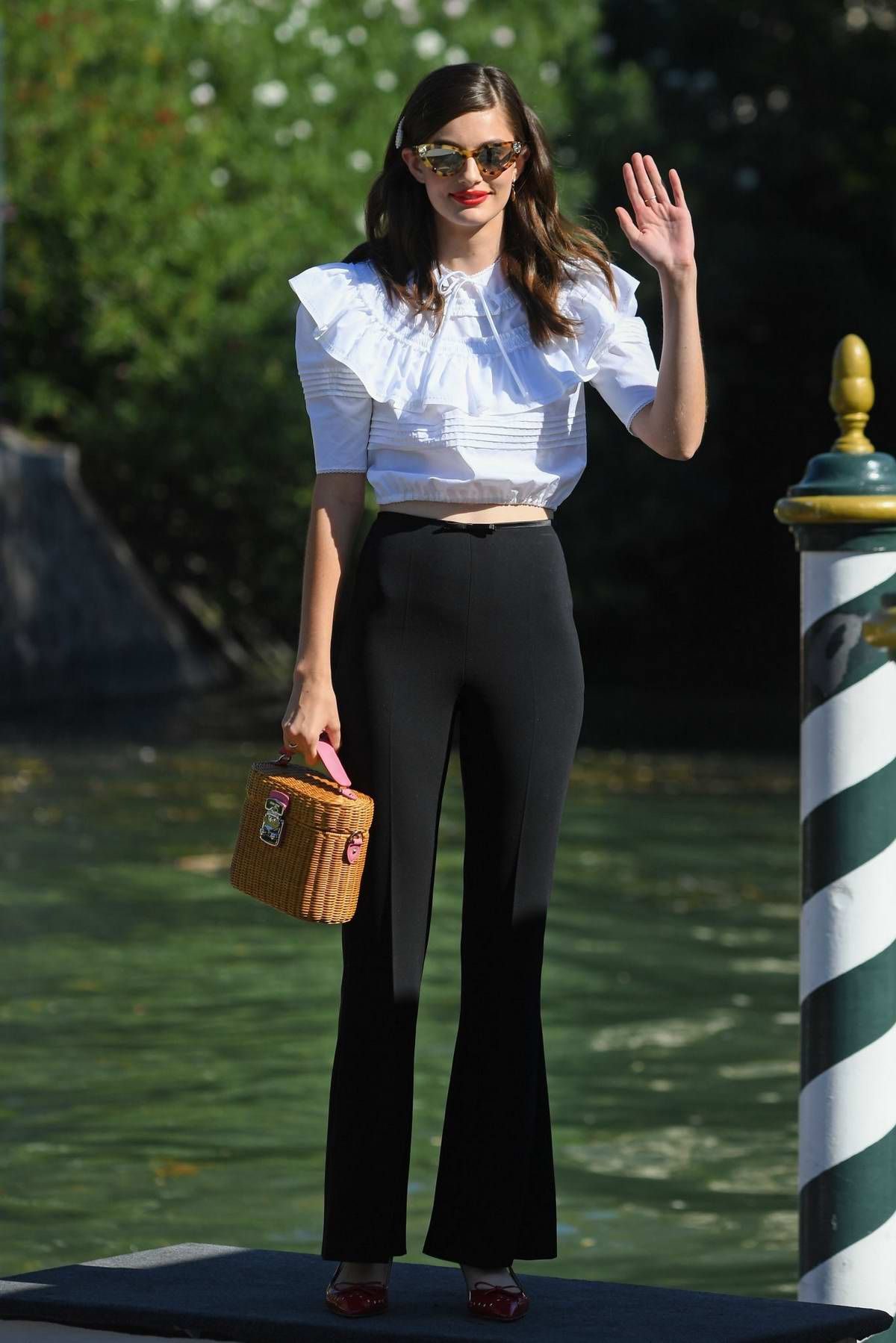 Diana Silvers looks great in black and white ensemble while out during the 76th Venice Film Festival in Venice, Italy