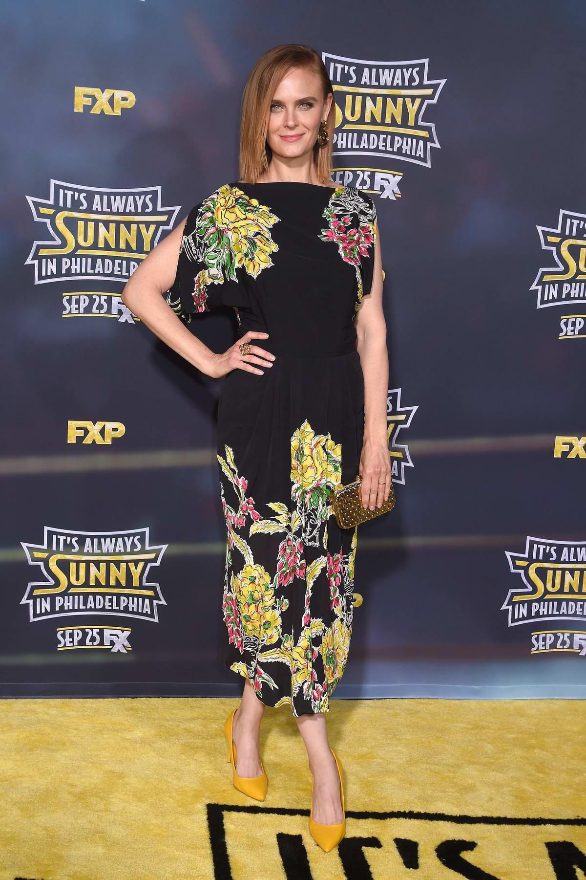 Emily Deschanel attends 'It's Always Sunny In Philadelphia' Season 14 premiere in Los Angeles