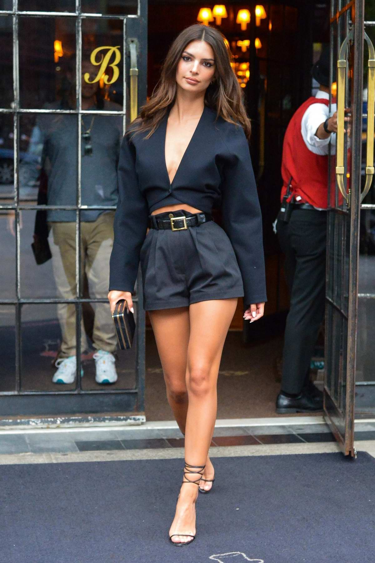 Emily Ratajkowski flaunts her long legs in an all-black ensemble as leaves The Bowery Hotel in New York City