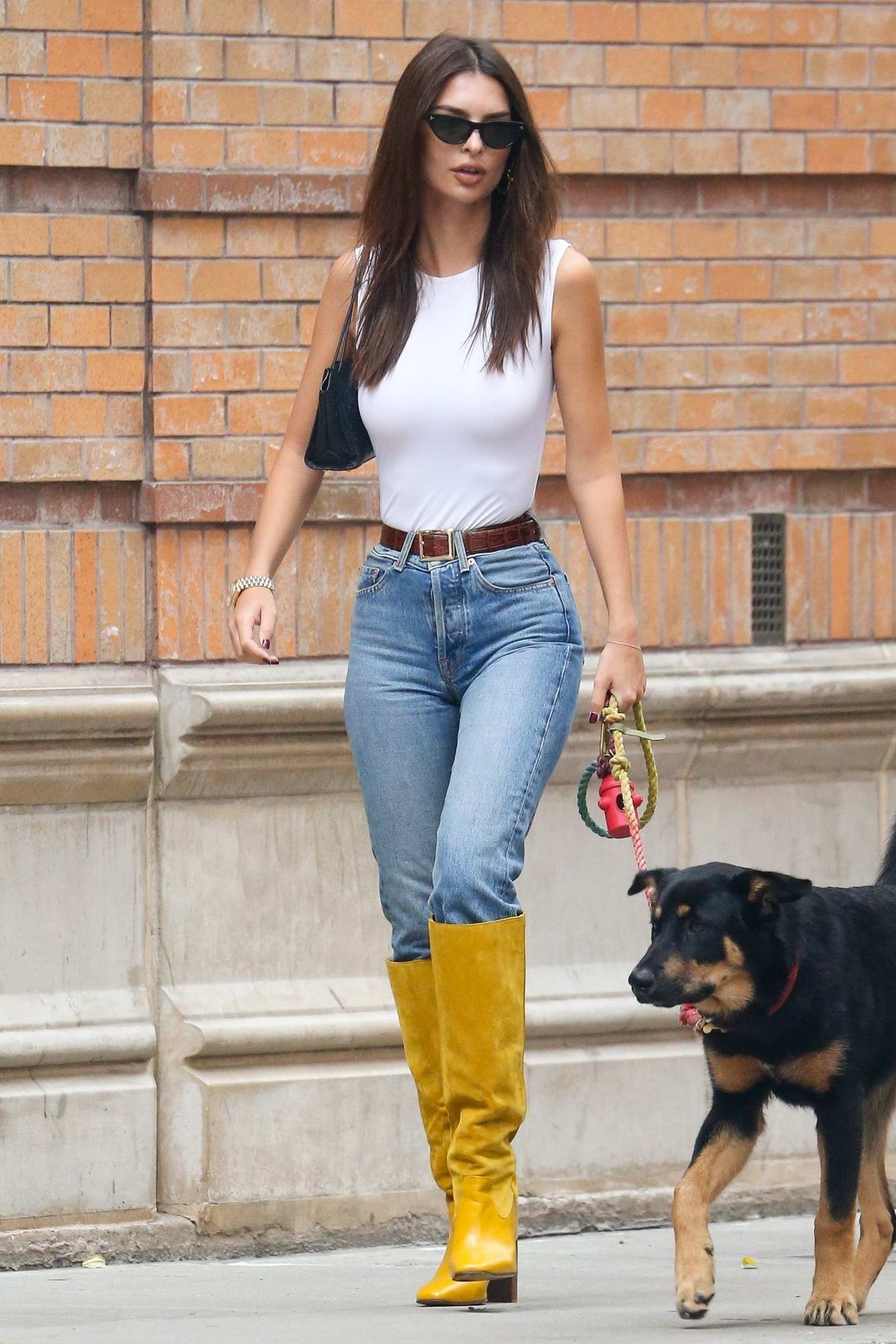Emily Ratajkowski looks stylish in yellow boots while walking her dog Colombo in New York City