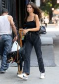 Emily Ratajkowski wears a black top with matching striped trousers while she walks her dog in New York City