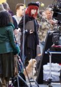 Emma Stone sports a redhead look while filming for her upcoming movie 'Cruella' in London, UK