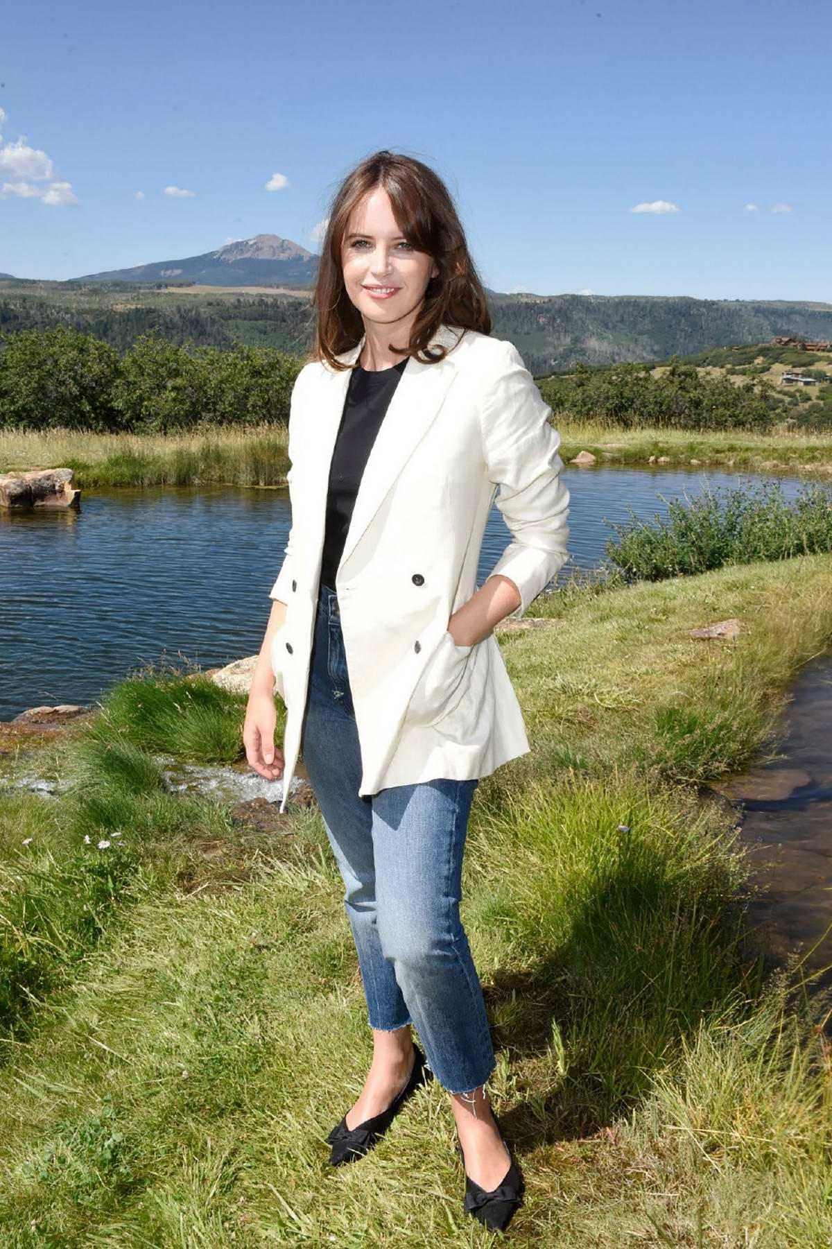 Felicity Jones attends the photocall of 'The Aeronauts' at the 2019 Telluride Film Festival in Telluride, Colorado