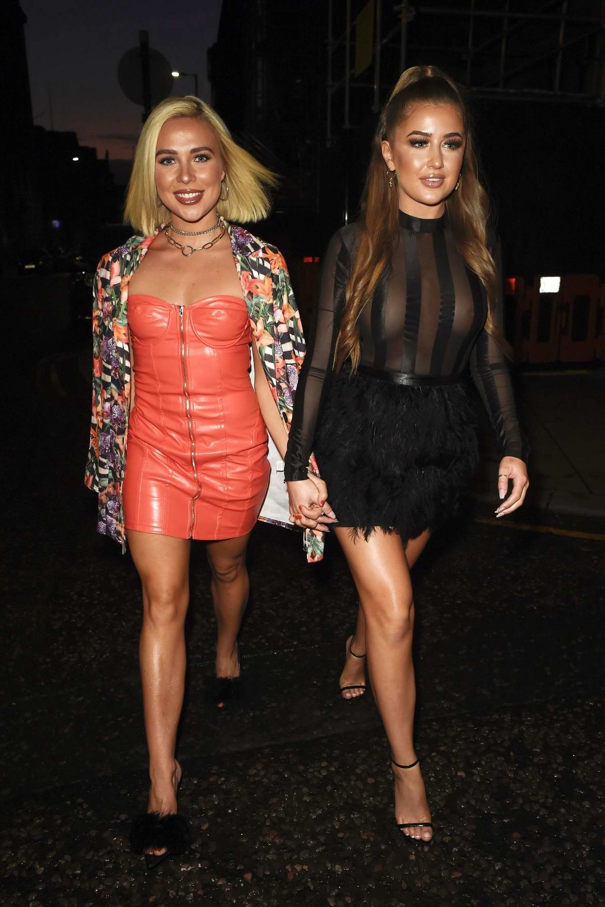 Georgia Steel and Gabby Allen attend Pretty Little Thing x Molly Mae launch at Rosso restaurant in Manchester, UK