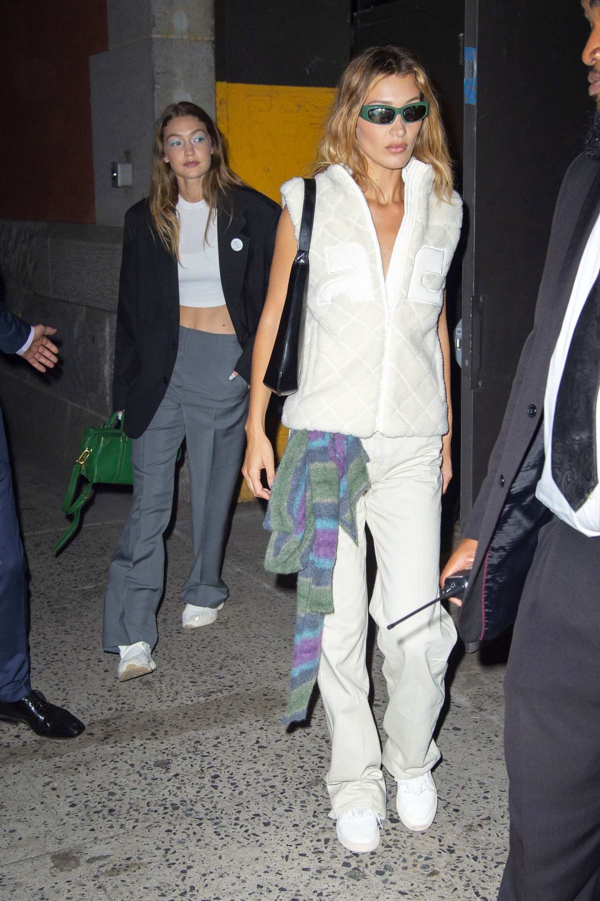 Gigi and Bella Hadid seen leaving the Marc Jacobs Spring 2020 Show at Park Avenue Armory in New York City