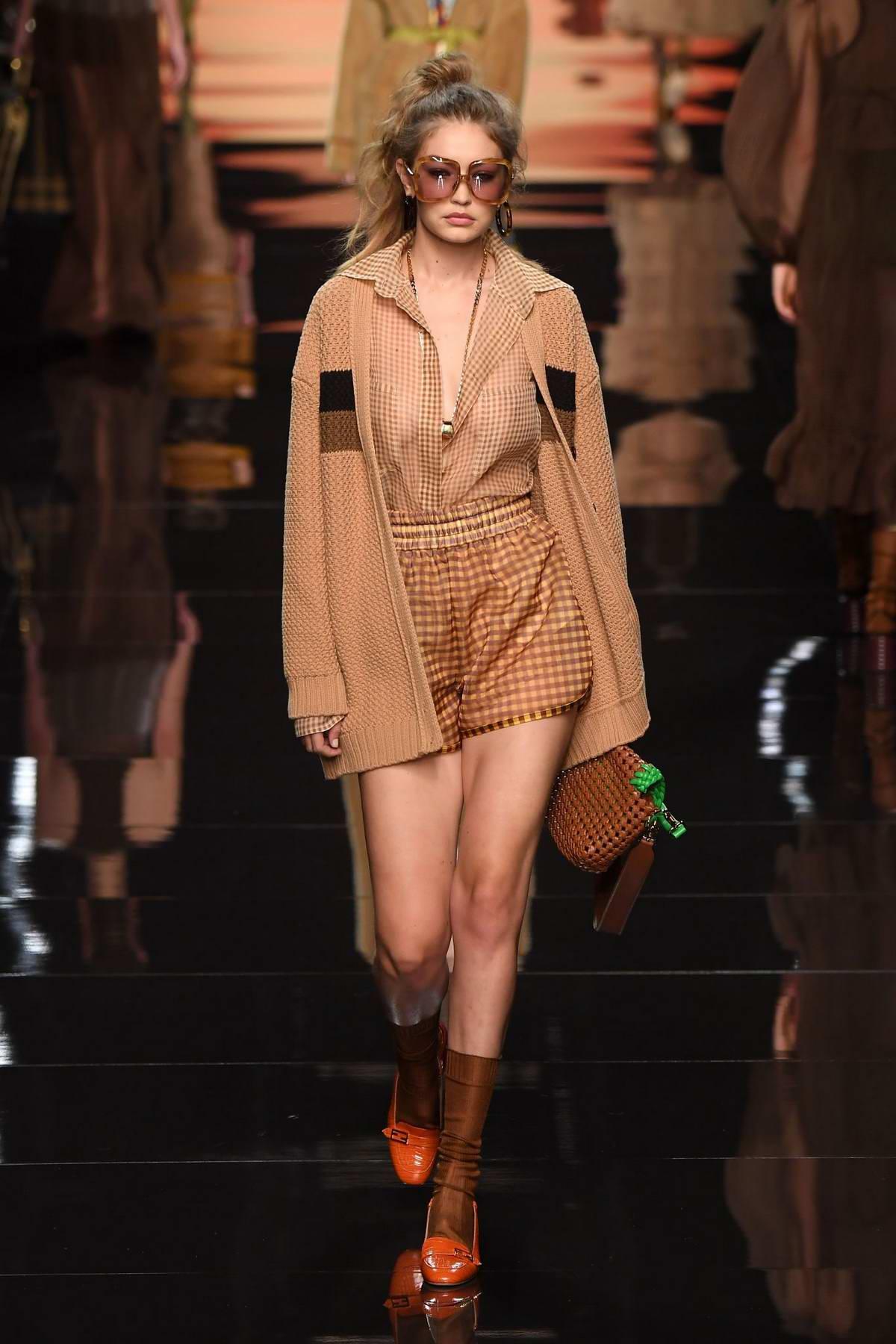 Gigi Hadid walks the runway at the Fendi show during the Milan Fashion Week, Spring/Summer 2020 in Milan, Italy