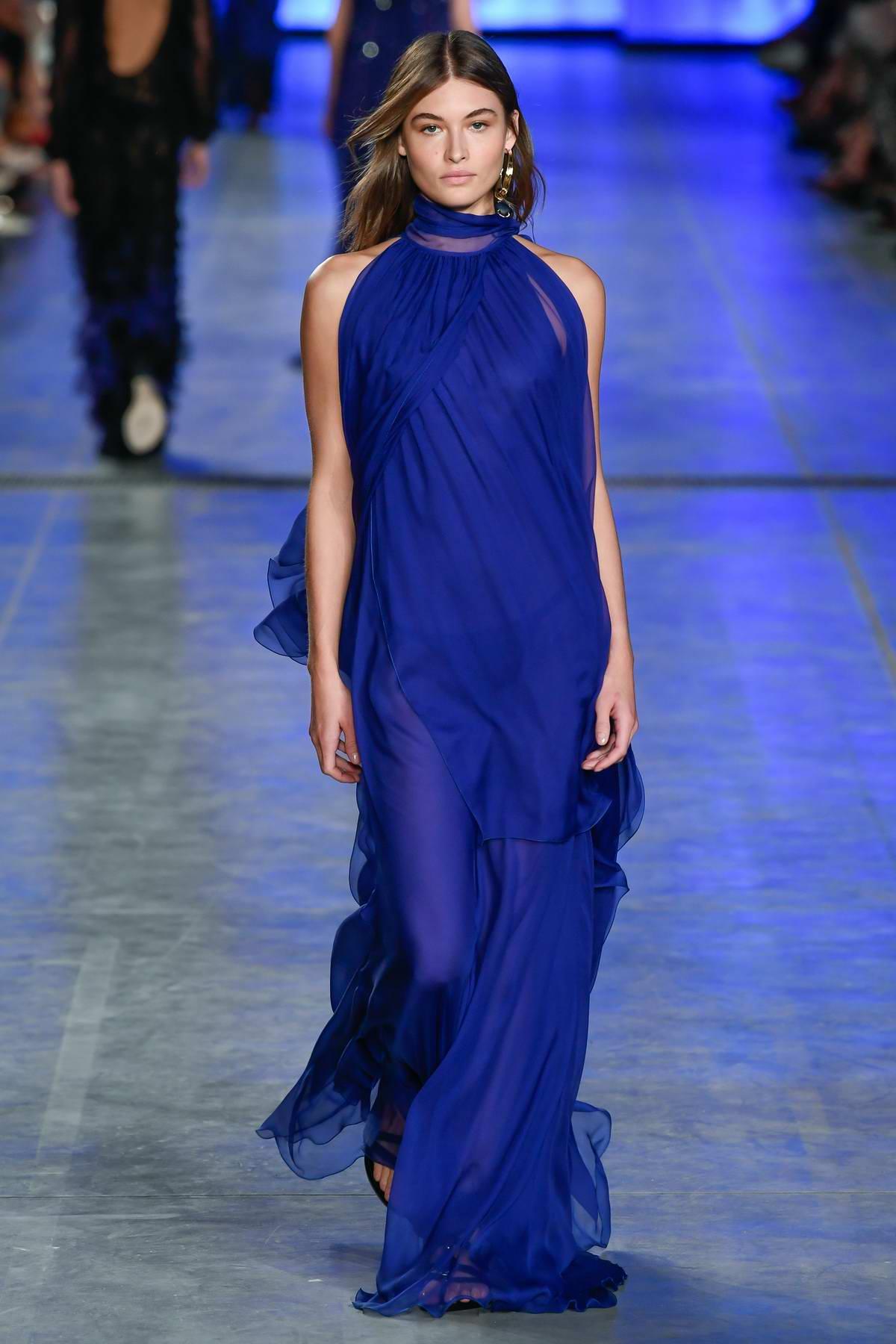 Grace Elizabeth walks the runway for the Alberta Ferretti show S/S 2020 during Milan Fashion Week in Milan, Italy