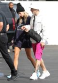 Hailey Baldwin and Justin Bieber arrive to the movies at IPIC Movie theater in Westwood, California