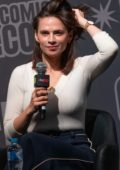 Hayley Atwell attends a Q&A with fans during Oz Comic-Con in Sydney, Australia