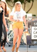 Hilary Duff flaunts her legs in yellow shorts during a trip to Ojai Valley Inn and Spa with her friends in Ojai, California