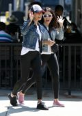Jenna Dewan and Emmanuelle Chriqui smile and wave for the camera while hanging out in Studio City, Los Angeles