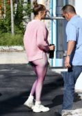 Jennifer Lopez sports all pink as she arrives at the gym in Miami, Florida