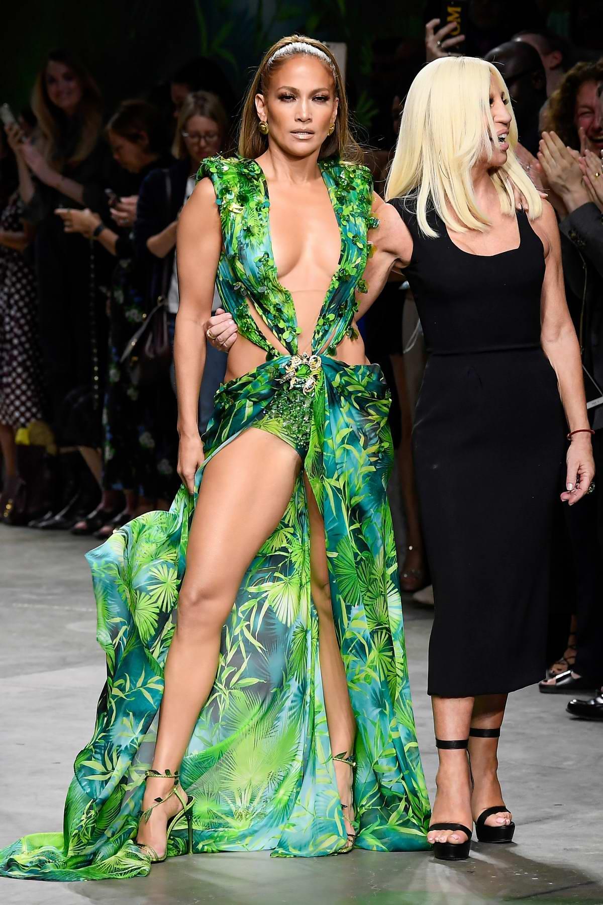 Jennifer Lopez walks the runway at the Versace show during Milan Fashion Week, Spring/Summer 2020 in Milan, Italy