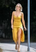 Julianne Hough looks gorgeous in a mustard yellow dress as she heads to a party in Los Angeles