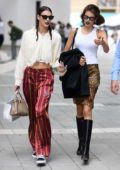 Kaia Gerber and Vittoria Ceretti spotted while out during Milan Fashion Week in Milan, Italy