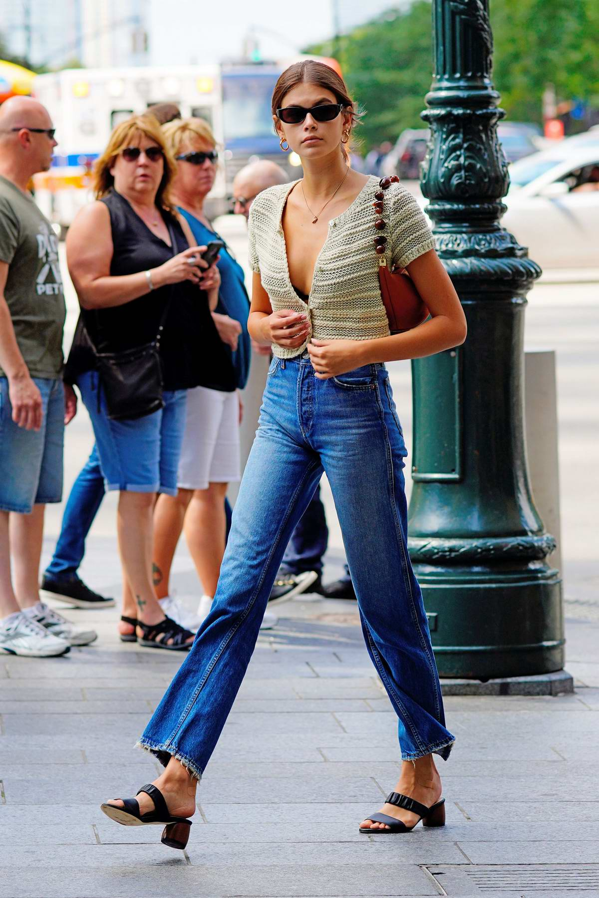 Kaia Gerber looks fashionable in knitted crop top and jeans while out and about in New York City