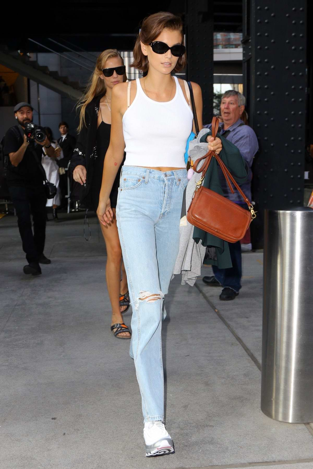 Kaia Gerber sports a new hairstyle as she leaves a fashion show during NYFW in New York City