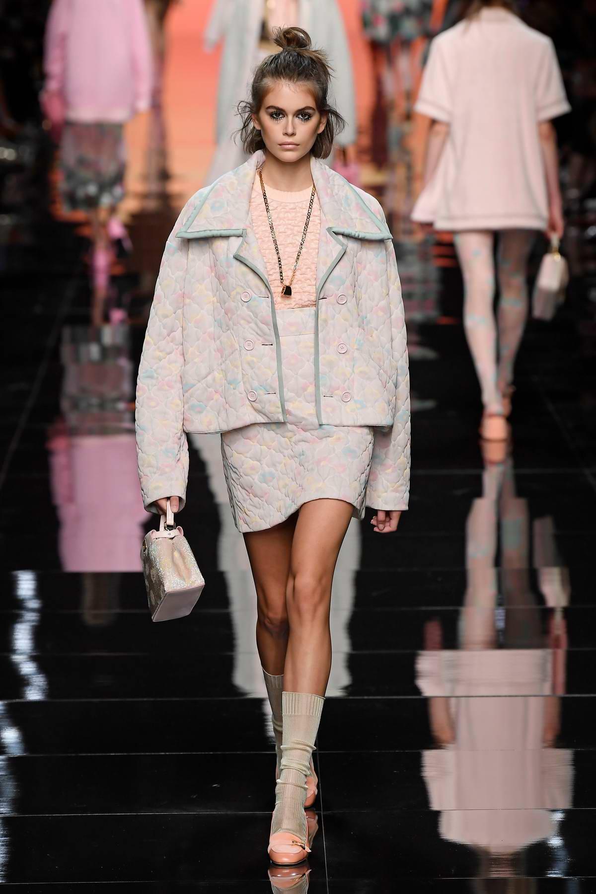 Kaia Gerber walks the runway at the Fendi show during Milan Fashion Week, Spring/Summer 2020 in Milan, Italy