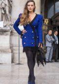 Katherine Langford attends the Balmain Womenswear Spring/Summer 2020 during Paris Fashion Week in Paris, France