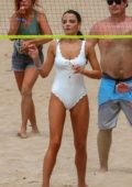 Keleigh Sperry wore a white swimsuit while playing beach volleyball with Nina Dobrev and few other friends in Maui, Hawaii