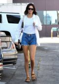 Kendall Jenner flaunts her mile-long legs in denim shorts while out for lunch in Beverly Hills, Los Angeles