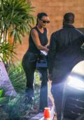 Kim Kardashian dons all-black during a date night with Kanye West at Cafe Habana in Malibu, California