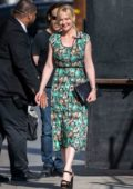 Kirsten Dunst wears a green floral print dress as she arrives for an appearance on 'Jimmy Kimmel Live!' in Hollywood, California