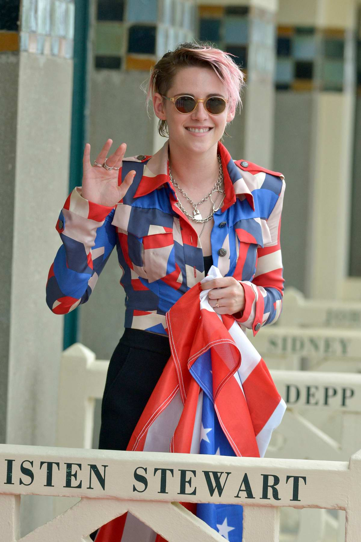 Kristen Stewart attends a photocall in her honor during the 45th Deauville American Film Festival in Deauville, France