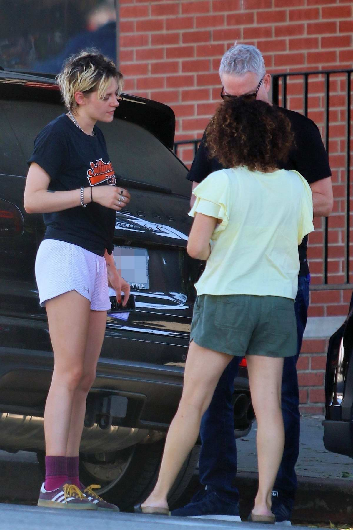 Kristen Stewart seen while exchanging information after a minor accident in Los Angeles