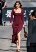 Lake Bell wears a form-fitting burgundy dress as she visits 'Jimmy Kimmel Live!' in Hollywood, California