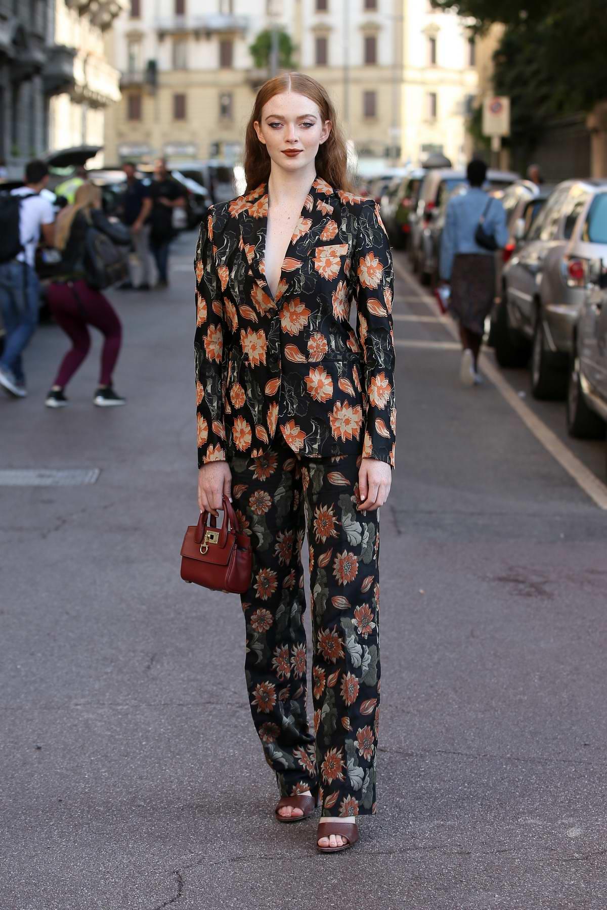 Larsen Thompson attends Salvatore Ferragamo show during Milan Fashion Week, Spring/Summer 2020 in Milan, Italy