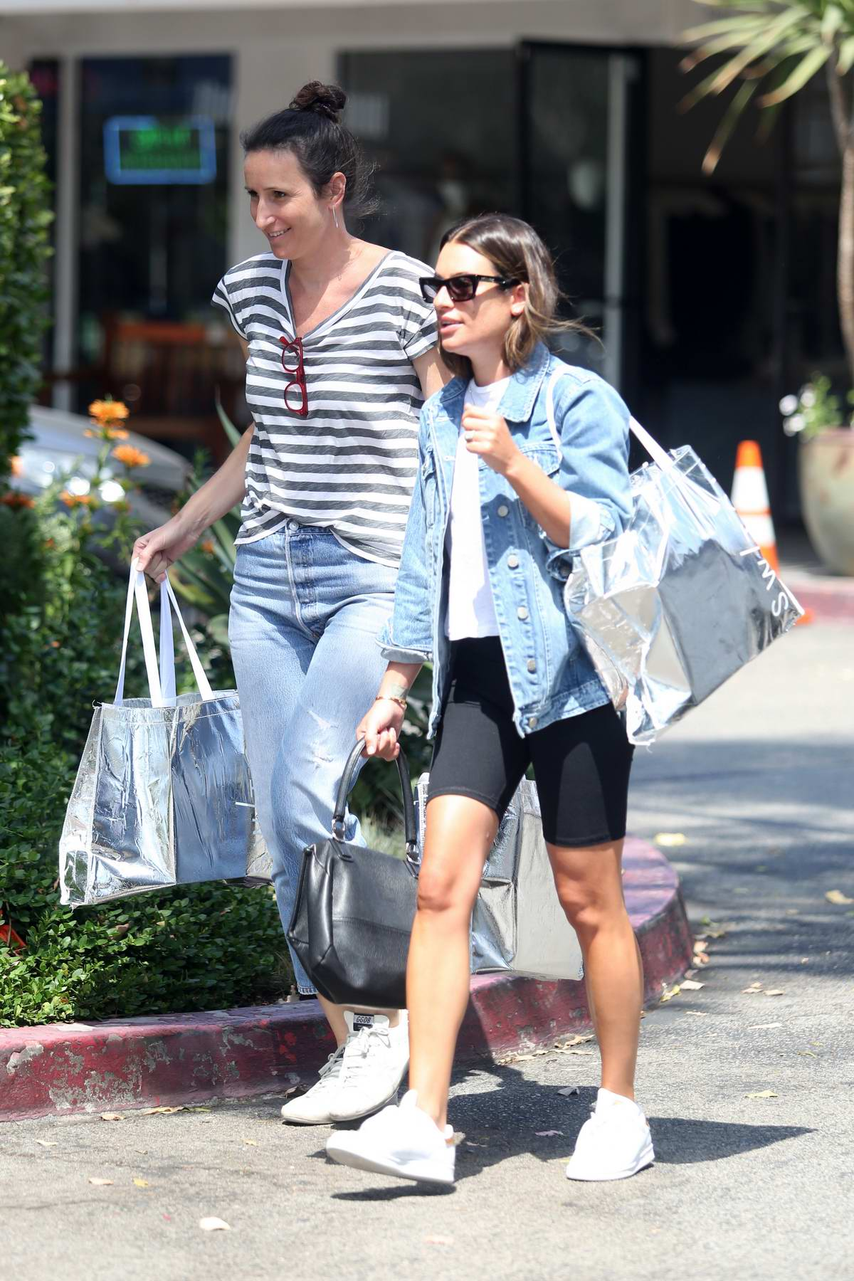 Lea Michele Wears A Denim Jacket With White Tee And Black Biker Shorts While Out With Friend In Out In Los Angeles 100919 5