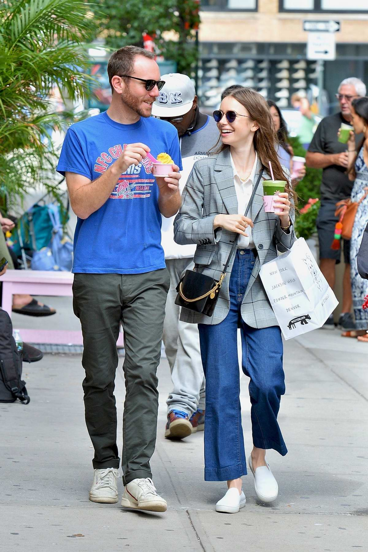 Lily Collins is all smiles while out with Charlie McDowell for some ice cream at Cha Cha Matcha in New York City