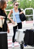 Lily-Rose Depp spotted in a blue tank top and black leggings as she arrives for the 76th Venice Film Festival in Venice, Italy