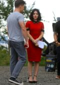 Lucy Hale and Zane Holtz spotted while filming a proposal scene for CW series 'Katy Keene' in New York City
