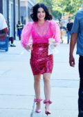 Lucy Hale looks pretty in pink while filming 'Katy Keene' at the Bowery Electric in New York City