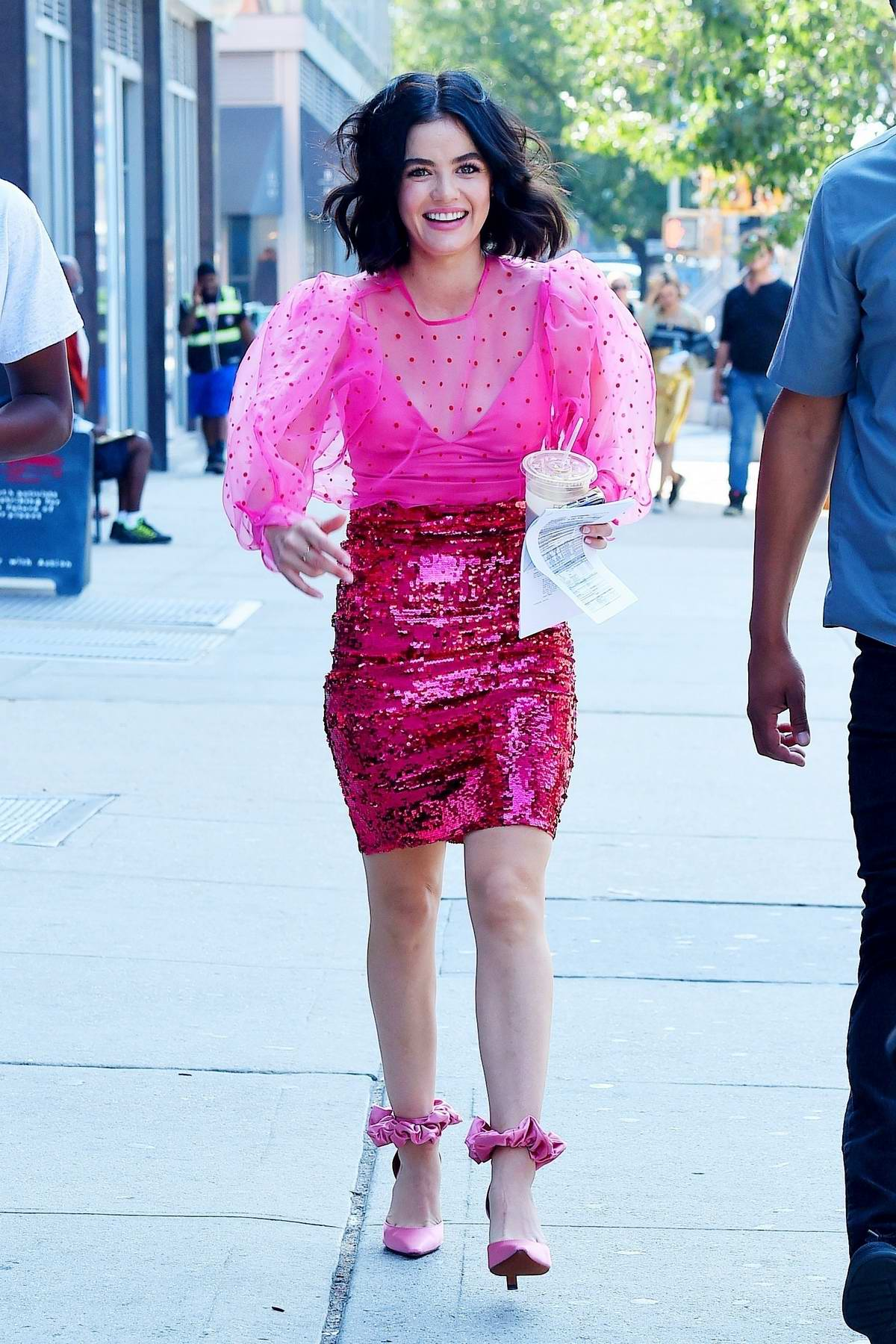 Lucy Hale looks pretty in pink while filming 'Katy Keene' at the ...
