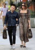 Mandy Moore wears an animal print dress for grocery shopping with husband Taylor Goldsmith in Los Angeles