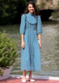 Margaret Qualley looks lovely as she steps out in a blue dress during the 76th Venice Film Festival in Venice, Italy