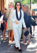 Michelle Dockery seen wearing a light blue suit as she leaves 'The View' in New York City
