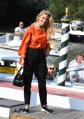 Michelle Hunziker is all smiles while out during the 76th Venice Film Festival in Venice, Italy