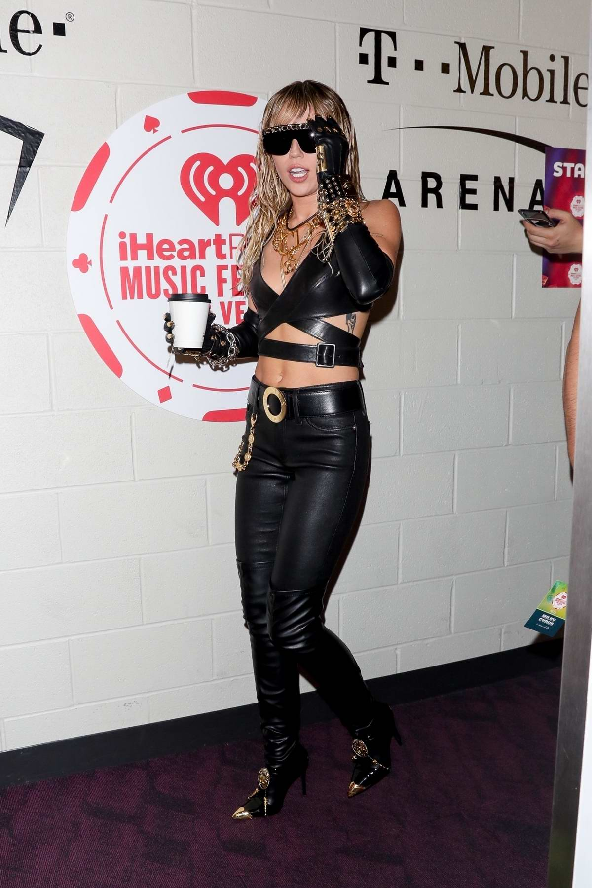 Miley Cyrus seen backstage on her way to perform at the 2019 iHeartRadio Music Festival in Las Vegas, Nevada