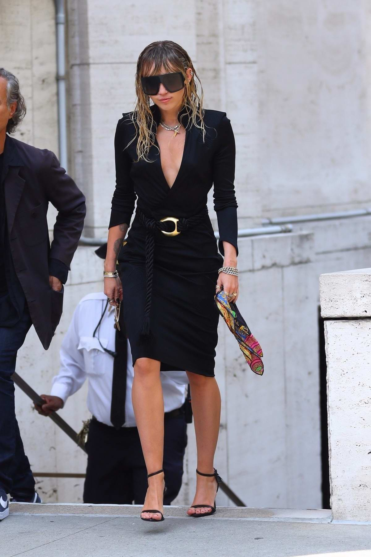 Miley Cyrus stuns in a black dress as she leaves the David Koch Center in New York City