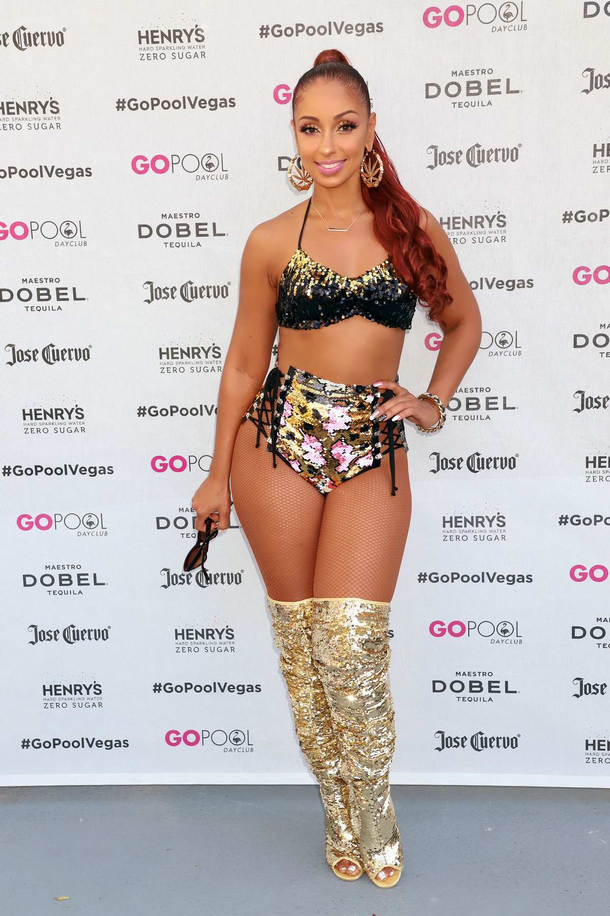 Mya performs live at Go Pool Dayclub at Flamingo Hotel & Casino in Las Vegas, Nevada