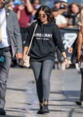 Naomi Scott seen wearing a black Burberry hoodie as she arrives at 'Jimmy Kimmel Live' in Los Angeles