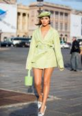Olivia Culpo steps out after attending MJZ International Women's Collection SS 2020 during Paris Fashion Week in Paris, France